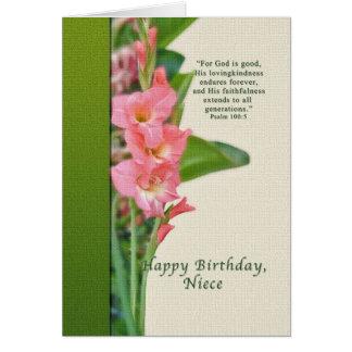 Birthday, Niece, Pink Gladiolus Card