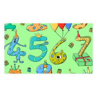 Birthday Numbers, on Pale Green. Pack Of Standard Business Cards
