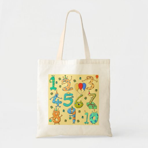 Birthday Numbers, on Yellow. Bags