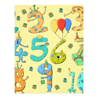 Birthday Numbers on Yellow Full Color Flyer