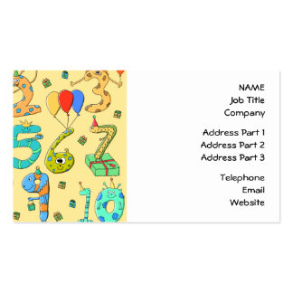Birthday Numbers, on Yellow. Pack Of Standard Business Cards