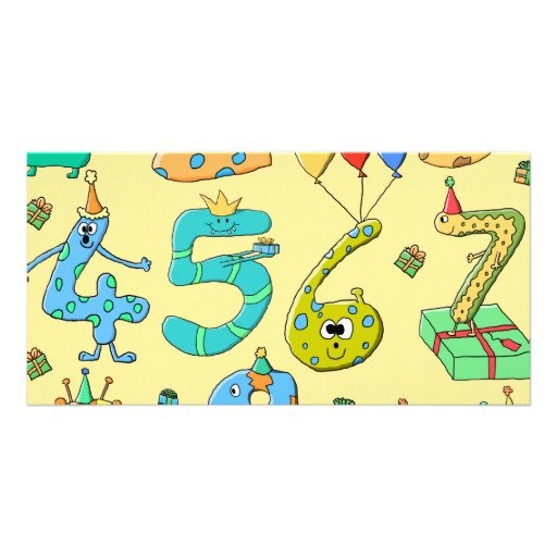 Birthday Numbers, on Yellow. Photo Card Template
