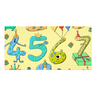 Birthday Numbers on Yellow Photo Card Template