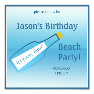 "Birthday Ocean Beach Picnic Party Bottle 5.25"" Square Invitation Card"