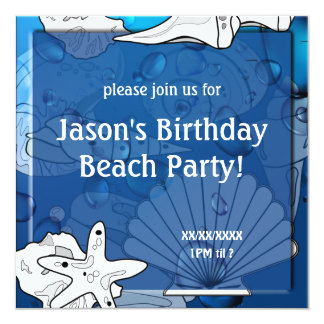 Birthday Ocean Beach Picnic Party Seashell Personalized Announcement