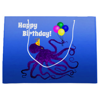 Birthday Octopus On Blue - Large Gift Bag