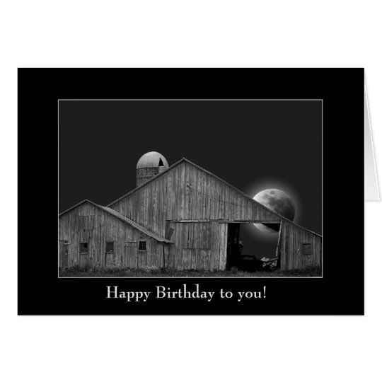 birthday-old barn and silo with full moon card