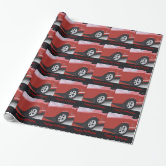 Birthday, old, red mustang, gift wrap .