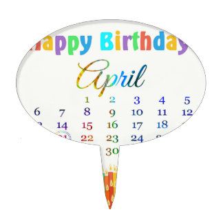 Birthday on April 21st, Colorful Birthday Candles Cake Toppers