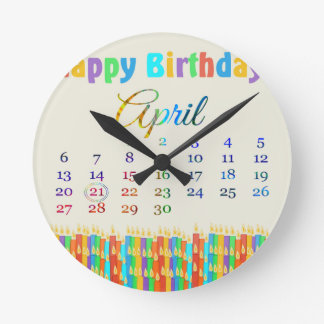 Birthday on April 21st Colorful Birthday Candles Round Clocks