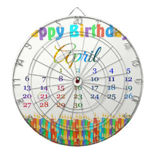 Birthday on April 21st Colorful Birthday Candles Dart Boards