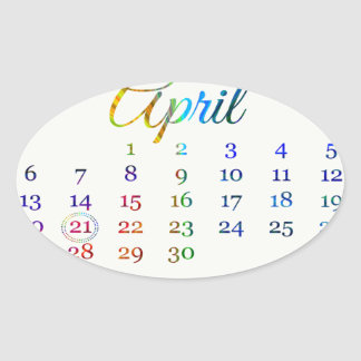Birthday on April 21st, Colorful Birthday Candles Oval Sticker