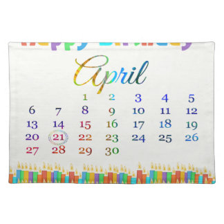 Birthday on April 21st Colorful Birthday Candles Placemat