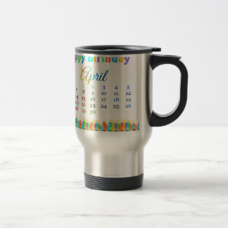 Birthday on April 21st, Colorful Birthday Candles Stainless Steel Travel Mug