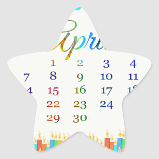 Birthday on April 21st Colorful Birthday Candles Star Stickers