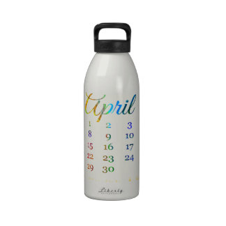 Birthday on April 21st, Colorful Birthday Candles Reusable Water Bottles