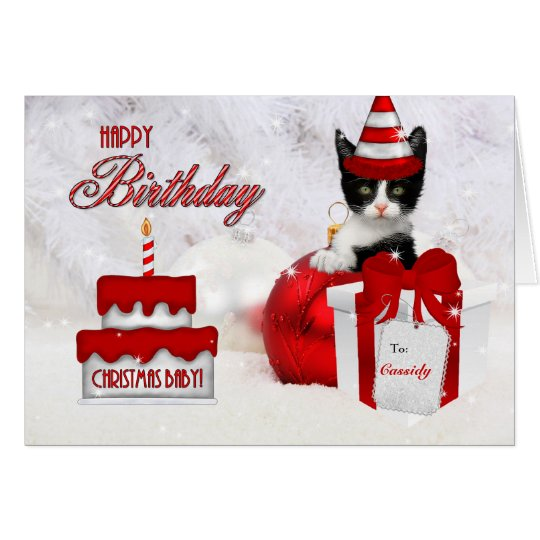 Birthday on Christmas Day Cat and Cake Card