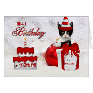 Birthday on Christmas Eve Cat and Cake Card