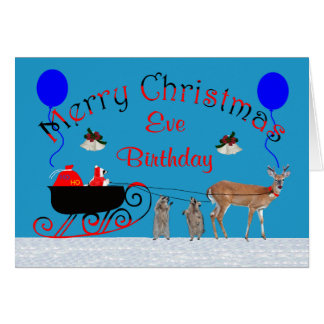 Birthday on Christmas Eve Greeting Card
