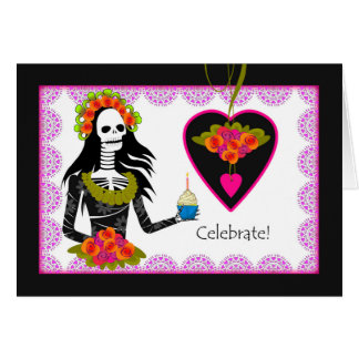 Birthday on Dia de los Muertos, Skeleton, Cupcake Card