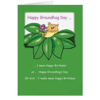 Birthday on Groundhog Day with Flowers Green Card