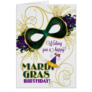 Birthday on Mardi Gras Traditional Colors Card