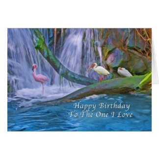 Birthday, One I Love, Tropical Waterfall, Birds Card