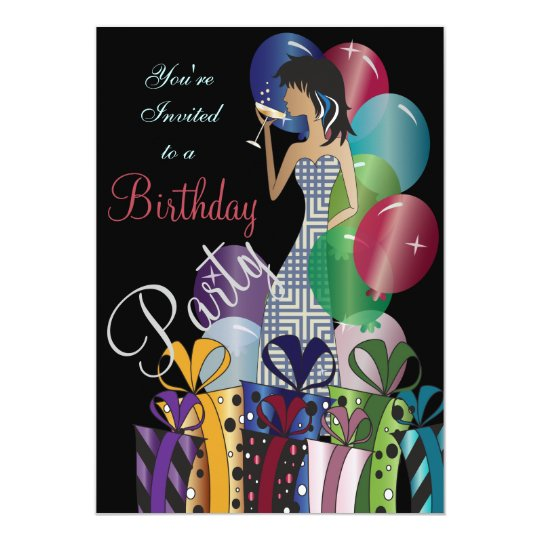 Birthday or Bachelorette Party Cocktail Diva Girl Card