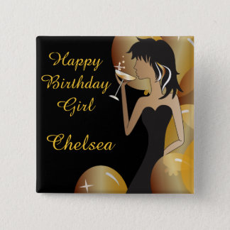 Birthday or Bachelorette Party Diva Princess Girl 15 Cm Square Badge