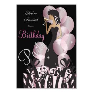 Birthday or Bachelorette Pink Party Girl 13 Cm X 18 Cm Invitation Card