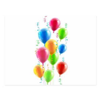Birthday or party balloons and ribbons post cards
