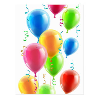 Birthday or party balloons and ribbons post card