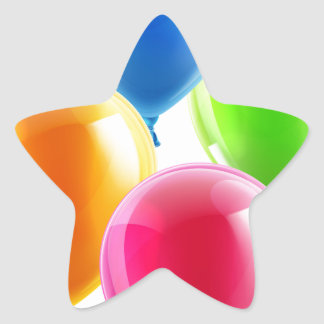 Birthday or party balloons star sticker