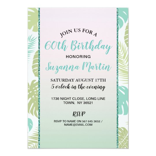 Birthday Palm Tropical Pink Mint ANY AGE Invite
