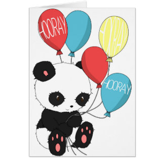 Birthday Panda with balloons Card