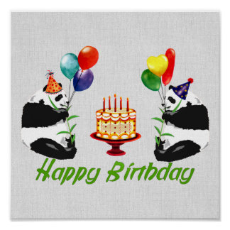 Birthday Pandas Poster