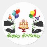 Birthday Pandas Round Sticker