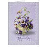 Birthday Pansies Greeting Card