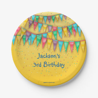 Birthday Paper Plates, Colorful Bunting 7 Inch Paper Plate