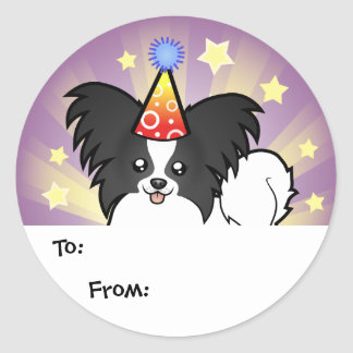 Birthday Papillon Classic Round Sticker