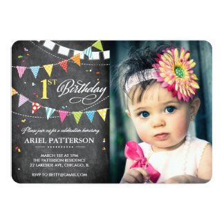 Birthday Party | 1st Birthday Flags Chalkboard 13 Cm X 18 Cm Invitation Card