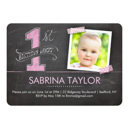 Birthday Party | 1st Chalkboard with Tape Pink