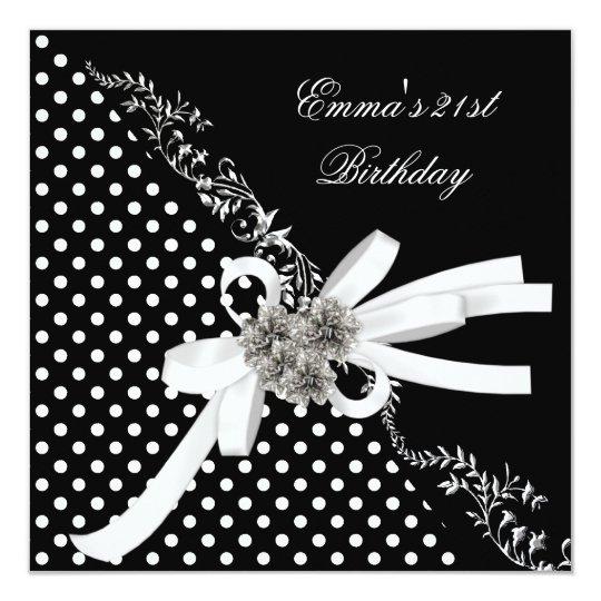Birthday Party 21st Polka Dot Black White Bow