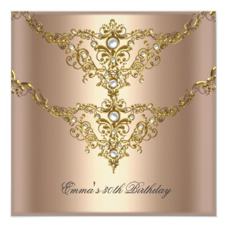 Birthday Party 30th Gold Coffee Cream Pearl 2 Personalized Invites