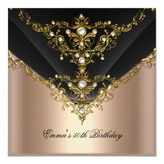 Birthday Party 30th Gold Coffee Cream Pearl Black Card