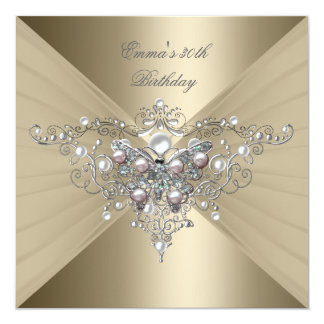 Birthday Party 30th Gold Coffee Pink Pearl 13 Cm X 13 Cm Square Invitation Card