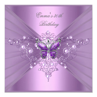Birthday Party 30th Lilac Pearl Purple Butterfly 13 Cm X 13 Cm Square Invitation Card