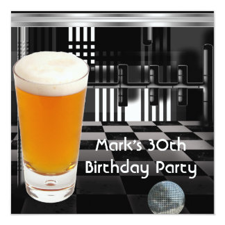 Birthday Party 30th Mens Beer Black White Silver 13 Cm X 13 Cm Square Invitation Card