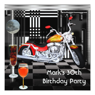 Birthday Party 30th Mens Bike Drinks Black White 13 Cm X 13 Cm Square Invitation Card
