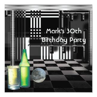 Birthday Party 30th Mens Drinks Black White Silver 13 Cm X 13 Cm Square Invitation Card